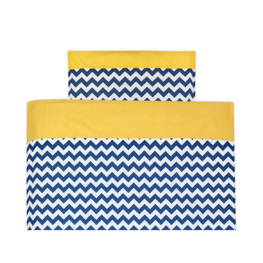 KraftKids Bettwäscheset weiße Punkte auf Gelb und Chevron dunkelblau 100 x 135 cm, Kissen 40 x 60 cm