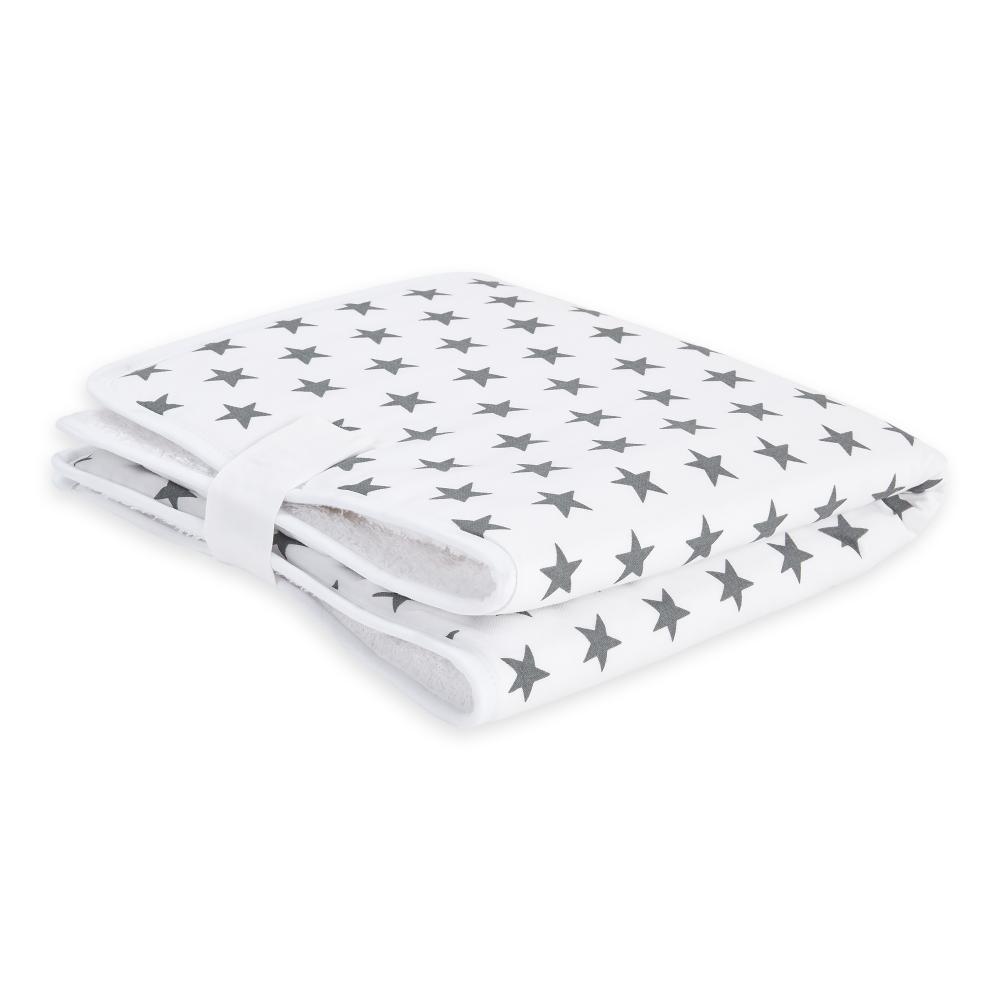 KraftKids Reisewickelunterlage kleine graue Sterne auf Weiss 3 Lagen wasserundurchlässig weich Frotte 100% Baumwolle