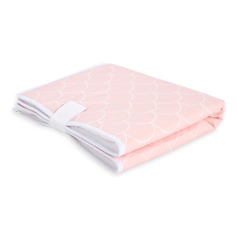 KraftKids Reisewickelunterlage weiße Halbkreise auf Pastelrosa 3 Lagen wasserundurchlässig weich Frotte 100% Baumwolle