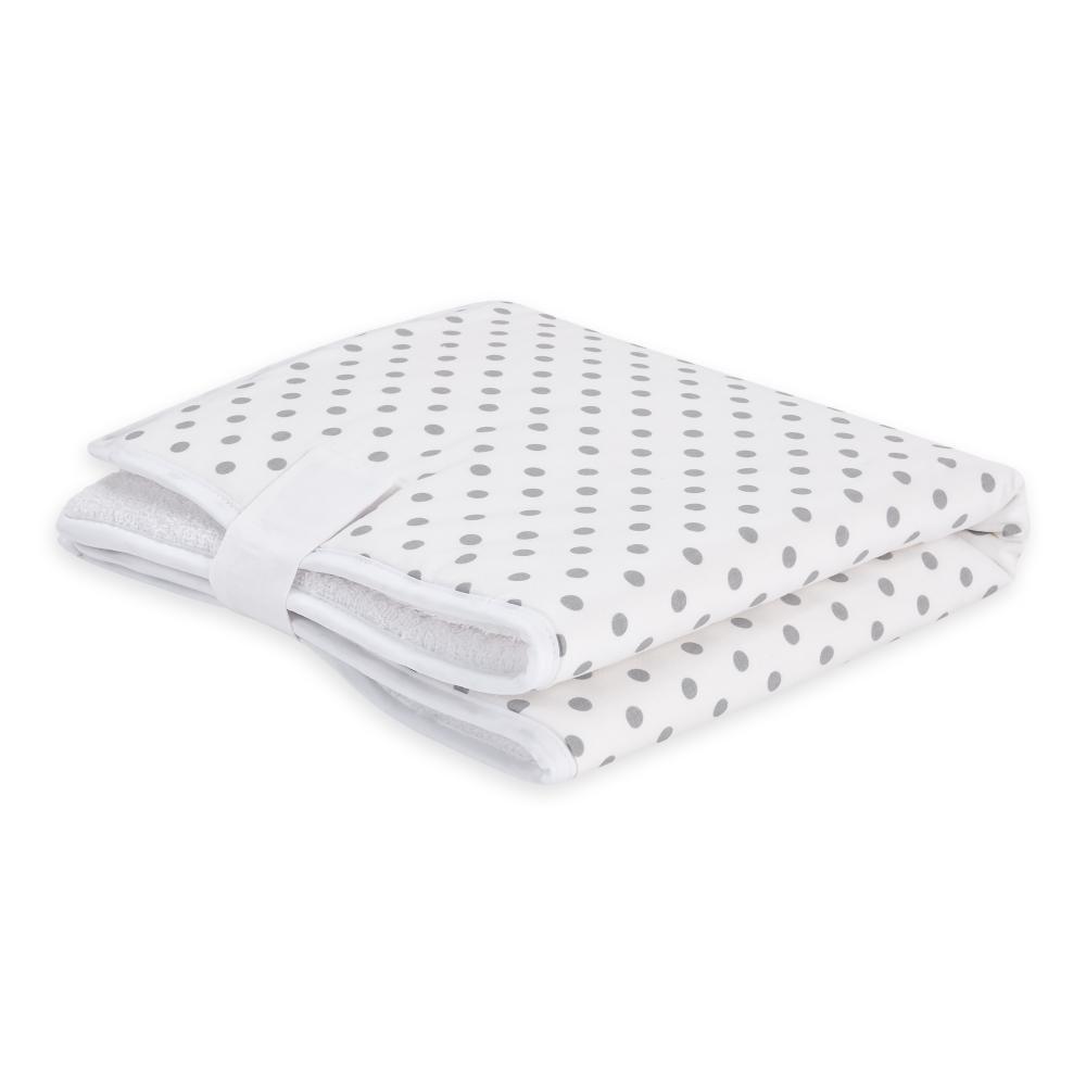 KraftKids Reisewickelunterlage graue Punkte auf Weiss 3 Lagen wasserundurchlässig weich Frotte 100% Baumwolle