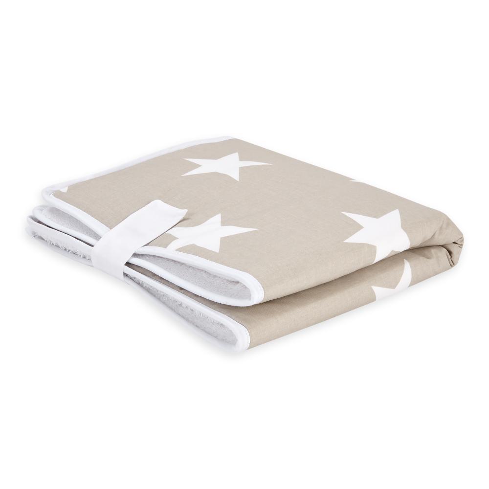 KraftKids Reisewickelunterlage große weiße Sterne auf Beige 3 Lagen wasserundurchlässig weich Frotte 100% Baumwolle
