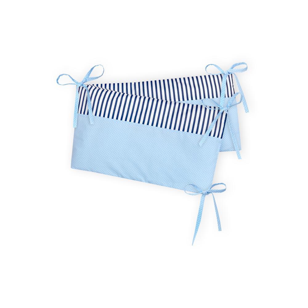 KraftKids Nestchen weiße Punkte auf Hellblau und Streifen dunkelblau Nestchenlänge 60-60-60 cm für Bettgröße 120 x 60 cm