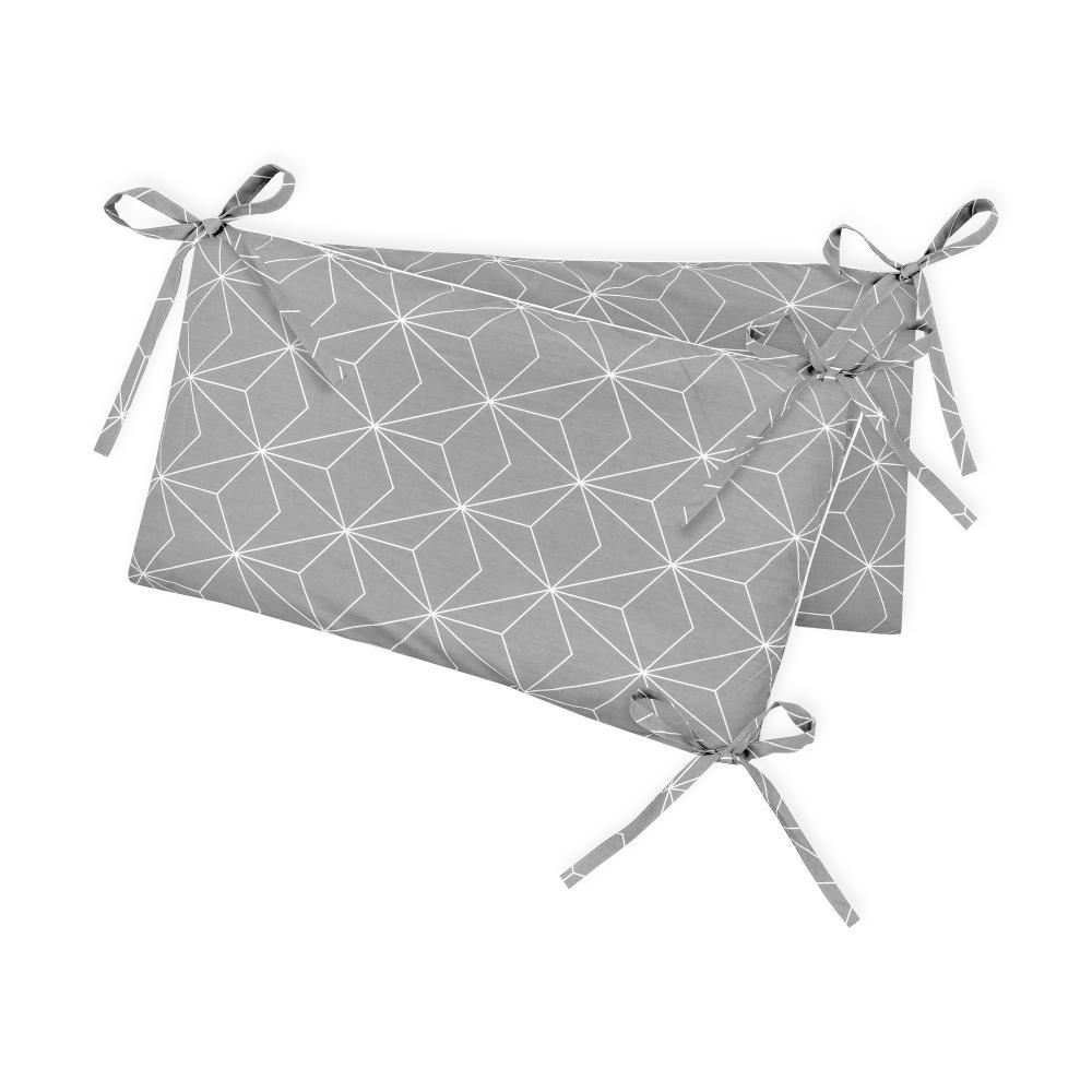 KraftKids Nestchen weiße dünne Diamante auf Grau Nestchenlänge 60-60-60 cm für Bettgröße 120 x 60 cm