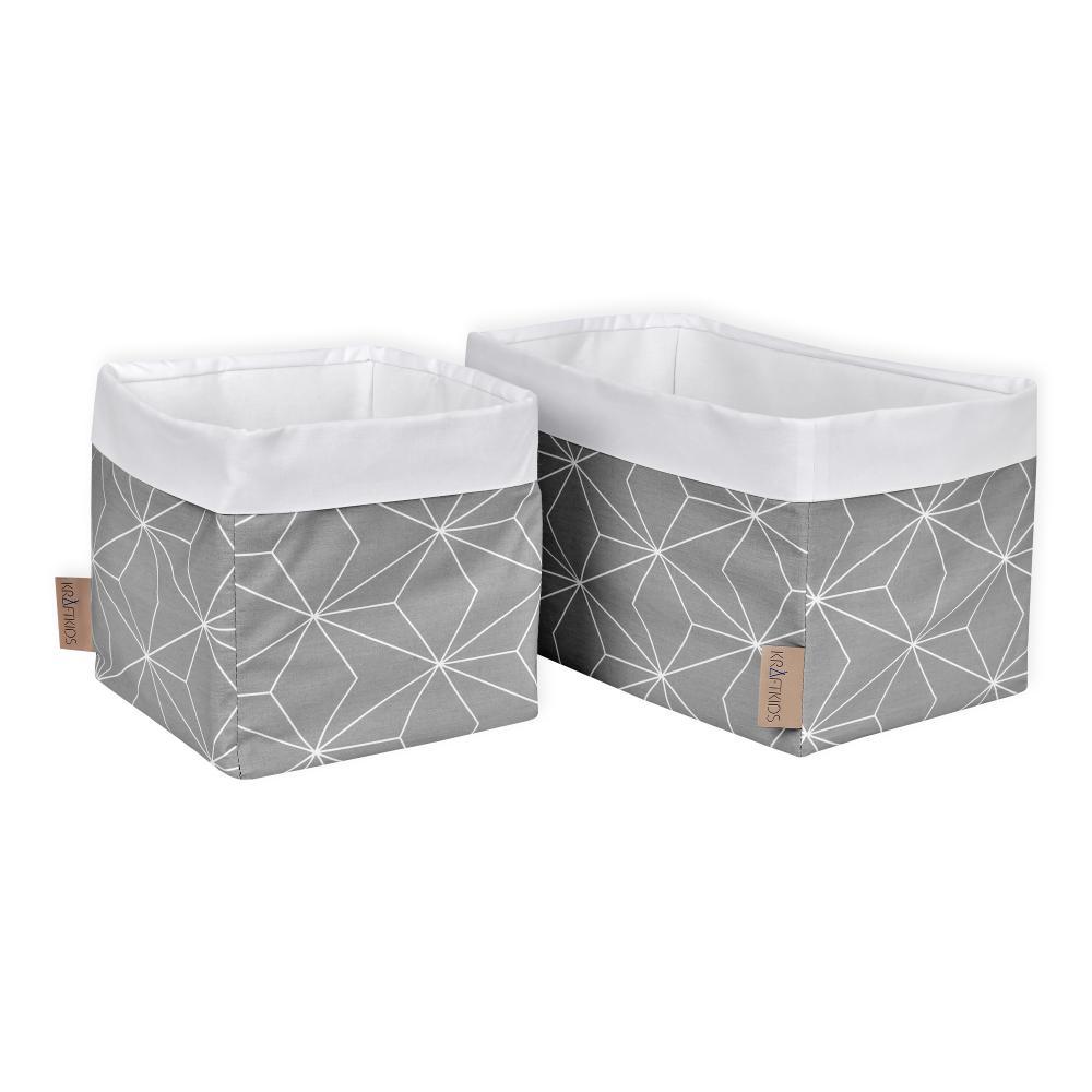 KraftKids Körbchen weiße dünne Diamante auf Grau 20 x 20 x 20 cm