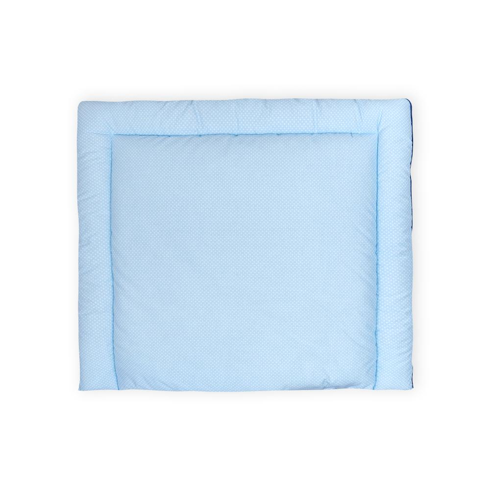 KraftKids Wickelauflage weiße Punkte auf Hellblau breit 75 x tief 70 cm