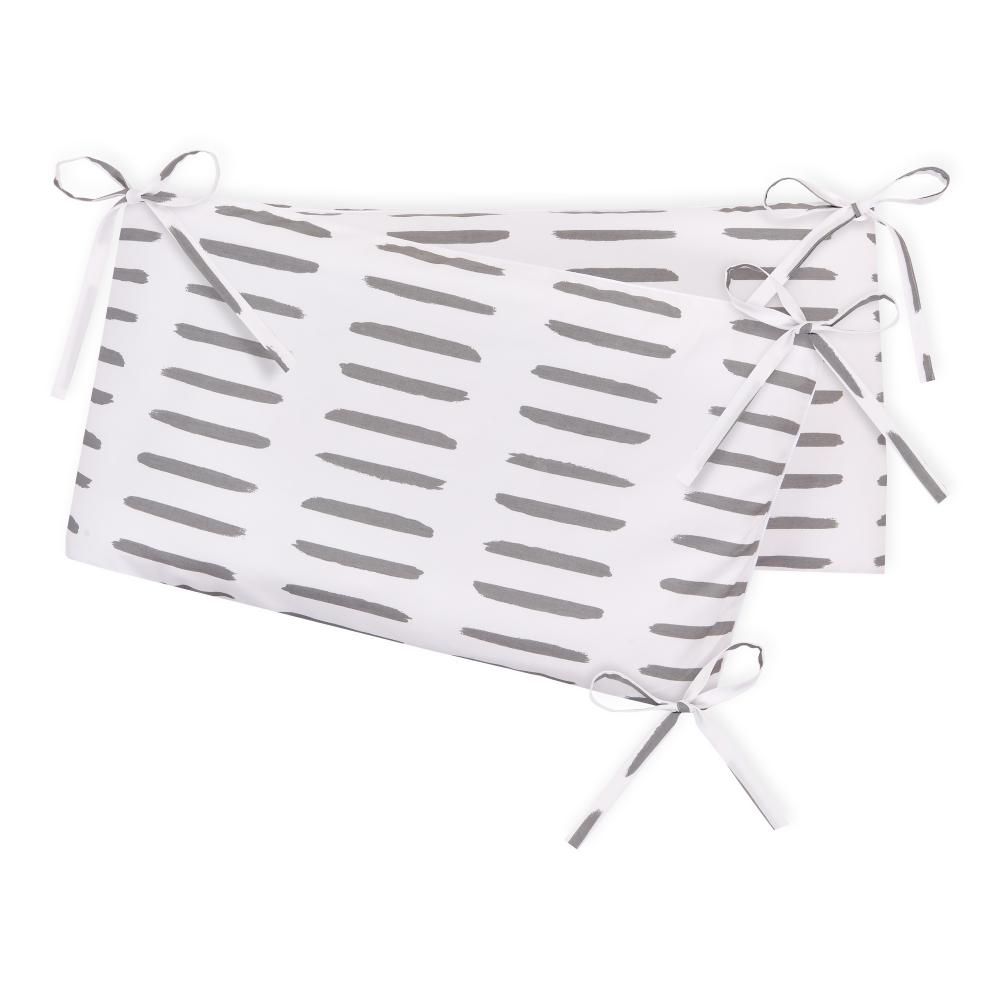 KraftKids Nestchen graue Striche auf Weiß Nestchenlänge 60-60-60 cm für Bettgröße 120 x 60 cm