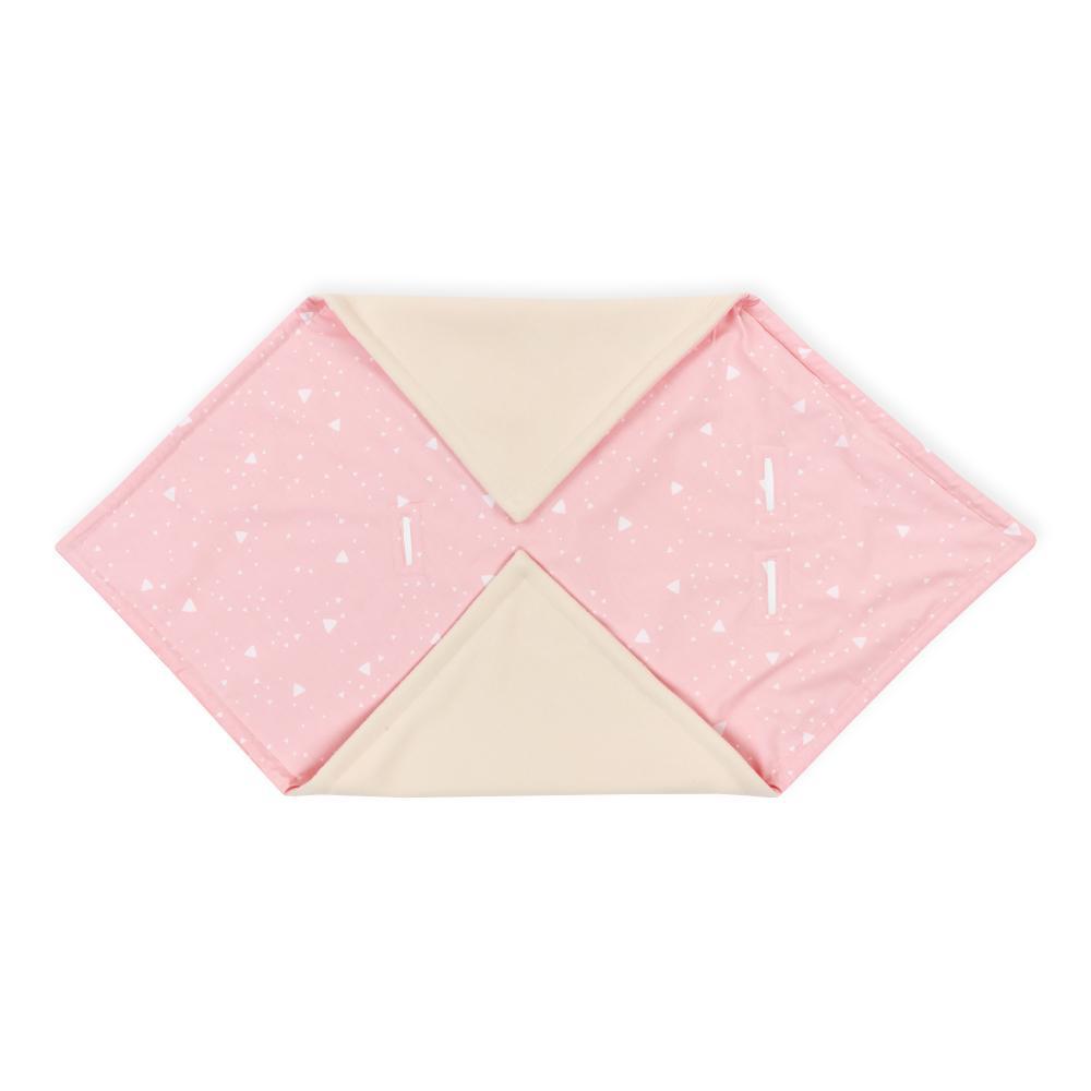 KraftKids Decke für Babyschale Winter abgerundete Dreiecke weiß auf Rosa