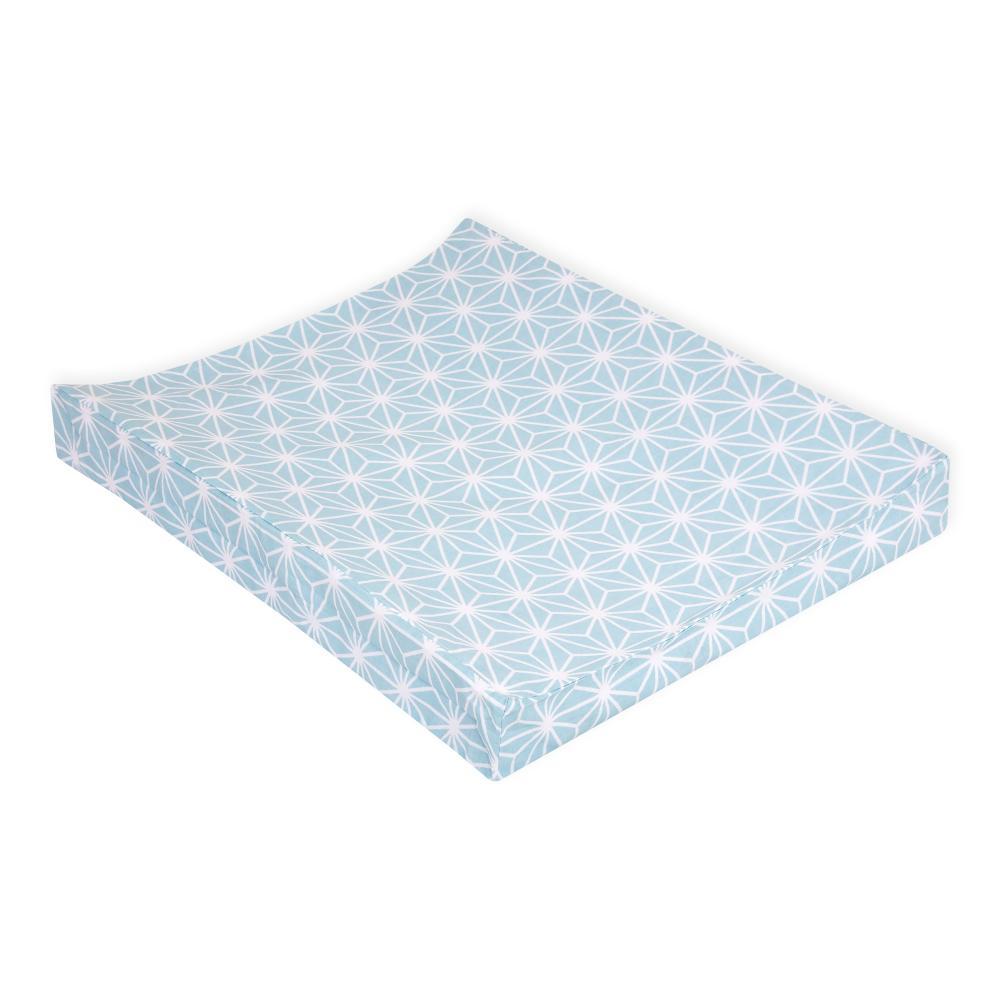 KraftKids Bezug für Keilwickelauflage weiße Diamante auf Pastel Blau
