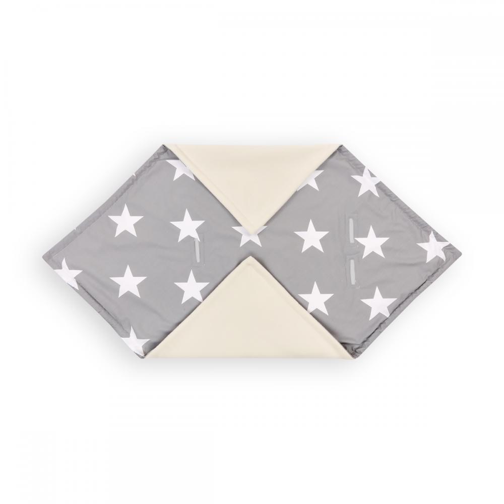 KraftKids Einschlagdecke für Babyschale Winter große weiße Sterne auf Grau