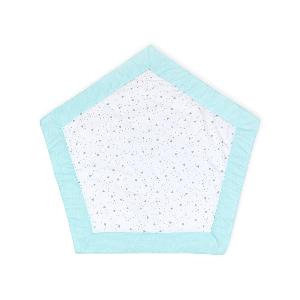 KraftKids Spielmatte weiße Punkte auf Mint und abgerundete Dreiecke grau