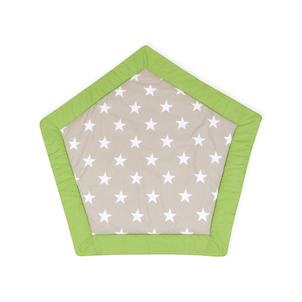 KraftKids Spielmatte große weiße Sterne auf Beige und weiße Punkte auf Grün