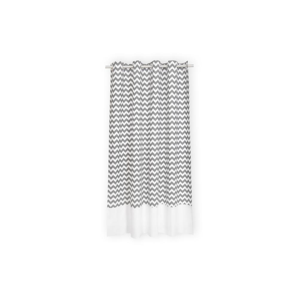 KraftKids Gardinen Uniweiss und Chevron grau Länge: 170 cm