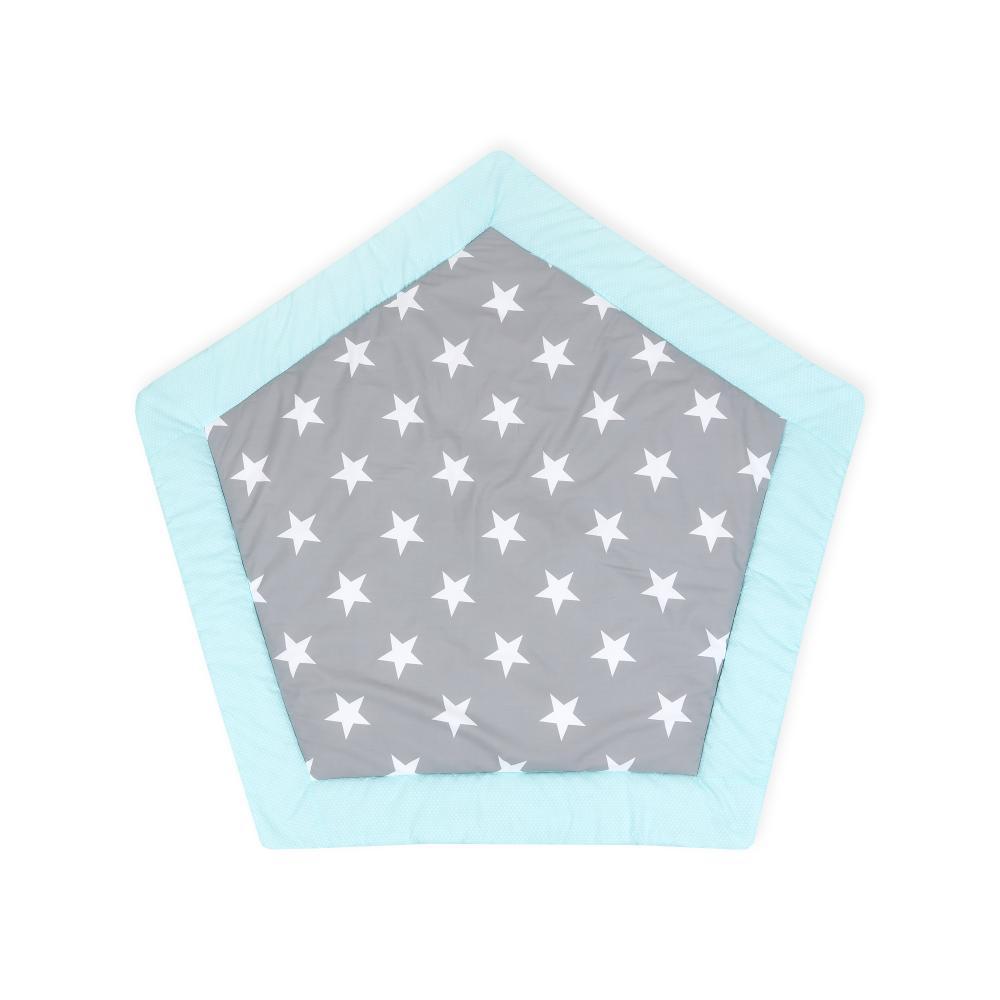KraftKids Spielmatte große weiße Sterne auf Grau und weiße Punkte auf Mint