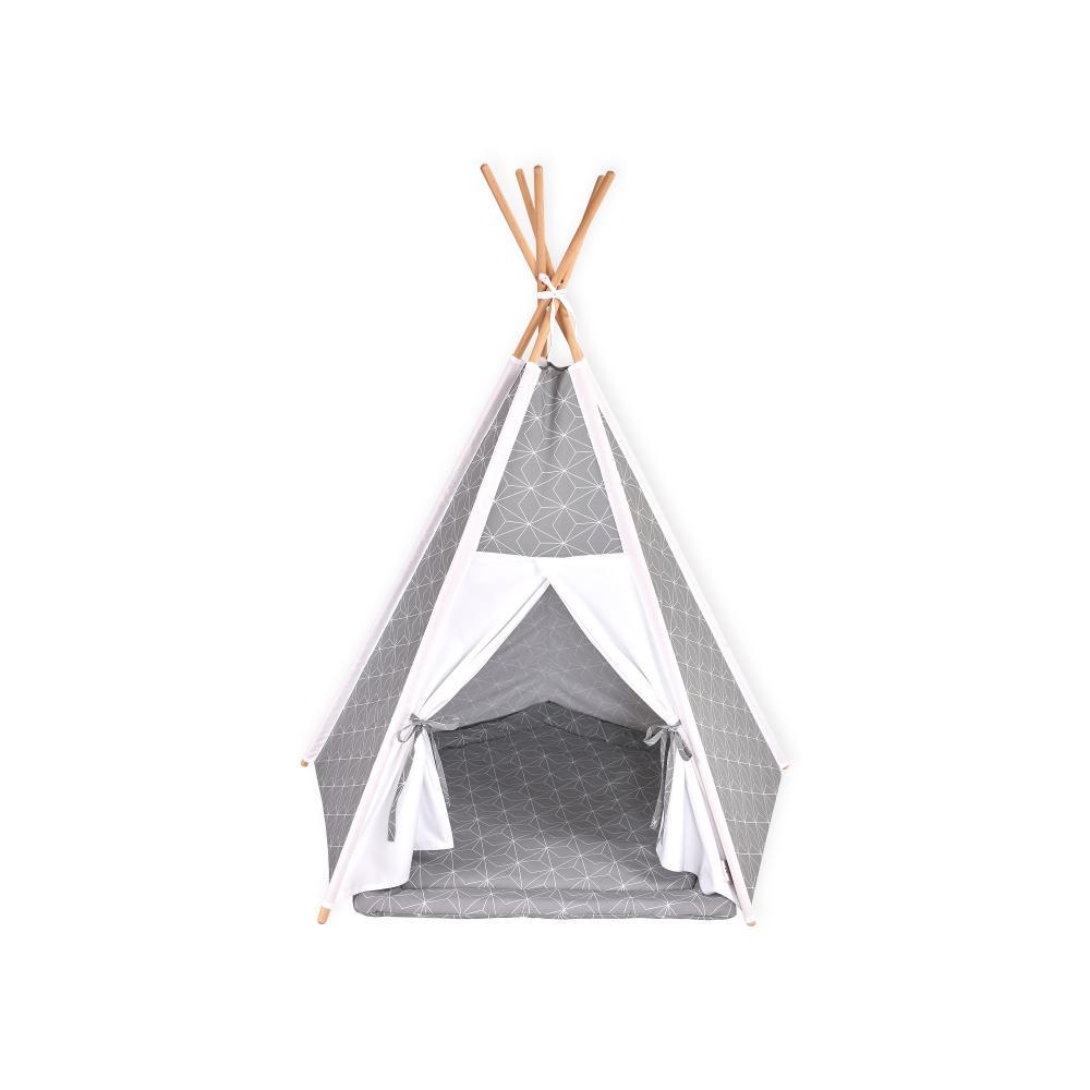 KraftKids Spielzelt Tipi weiße dünne Diamante auf Grau inkl. Spielmatte und 2 Sternkissen