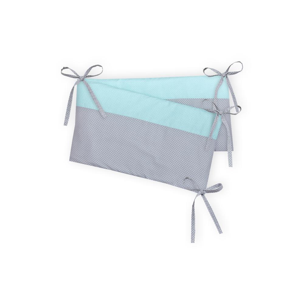 KraftKids Nestchen weiße Punkte auf Grau und weiße Punkte auf Mint Nestchenlänge 60-60-60 cm für Bettgröße 120 x 60 cm
