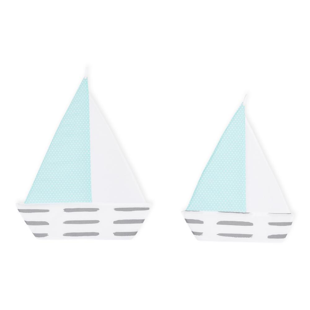 KraftKids Segelboot graue Striche auf Weiß