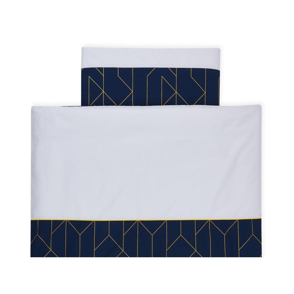 KraftKids Bettwäscheset goldene Linien auf Dunkelblau 100 x 135 cm, Kissen 40 x 60 cm