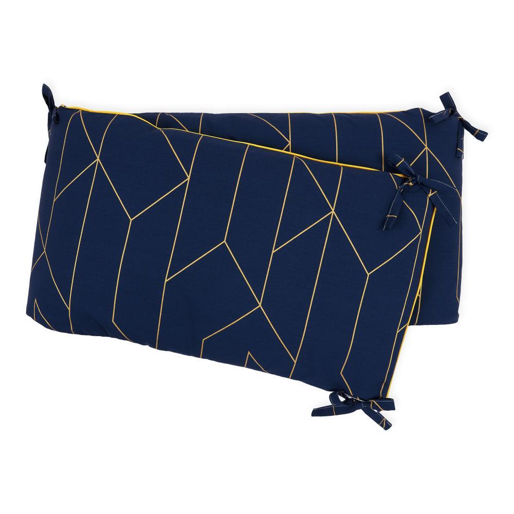 KraftKids Nestchen goldene Linien auf Dunkelblau Nestchenlänge 60-70-60 cm für Bettgröße 140 x 70 cm