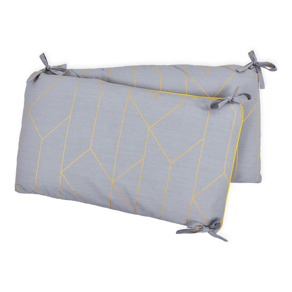 KraftKids Nestchen goldene Linien auf Grau Nestchenlänge 60-70-60 cm für Bettgröße 140 x 70 cm