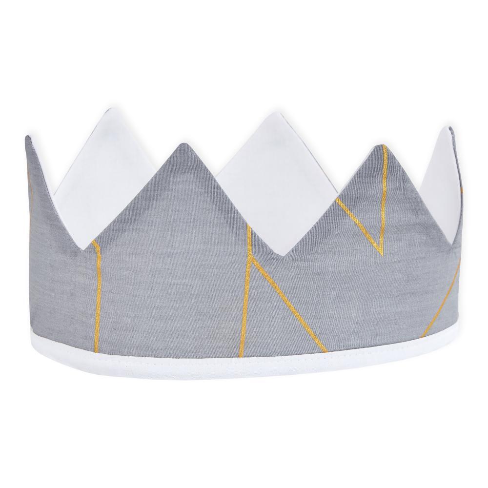 KraftKids Dekoration Stoffkrone goldene Linien auf Grau