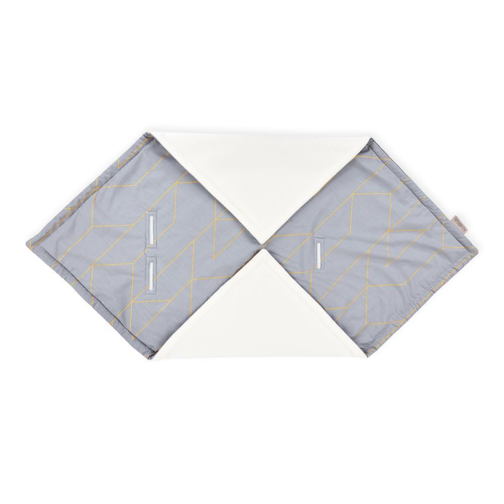 KraftKids Einschlagdecke für Babyschale Winter goldene Linien auf Grau