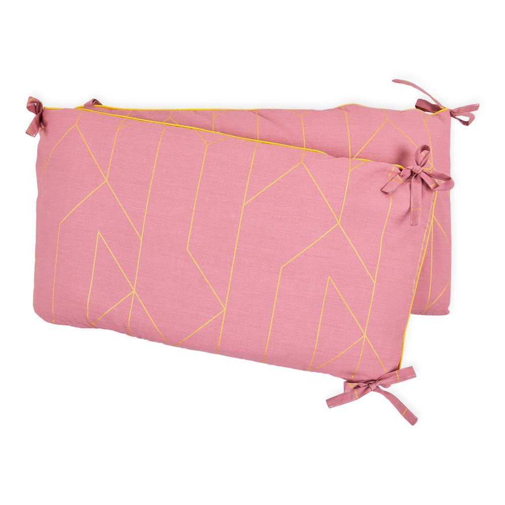 KraftKids Nestchen goldene Linien auf Rosa Nestchenlänge 60-60-60 cm für Bettgröße 120 x 60 cm