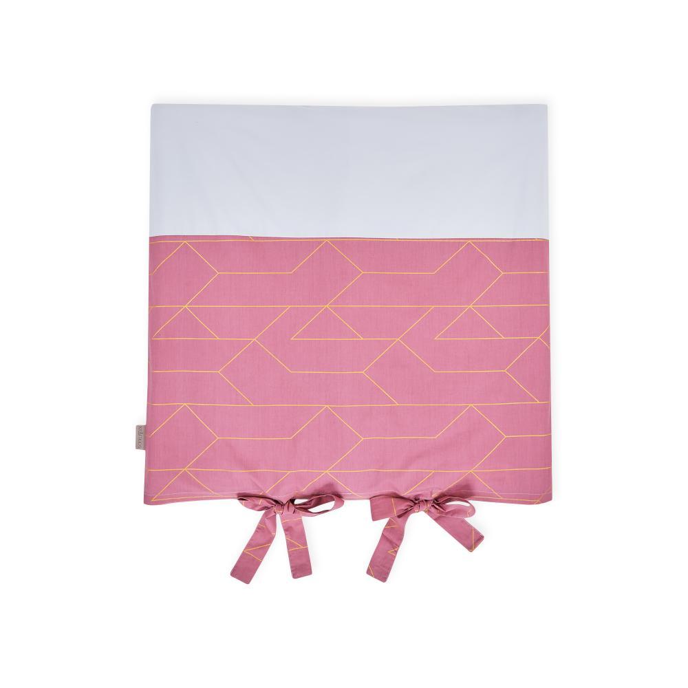 KraftKids Bezug für Wickeltischauflage goldene Linien auf Rosa