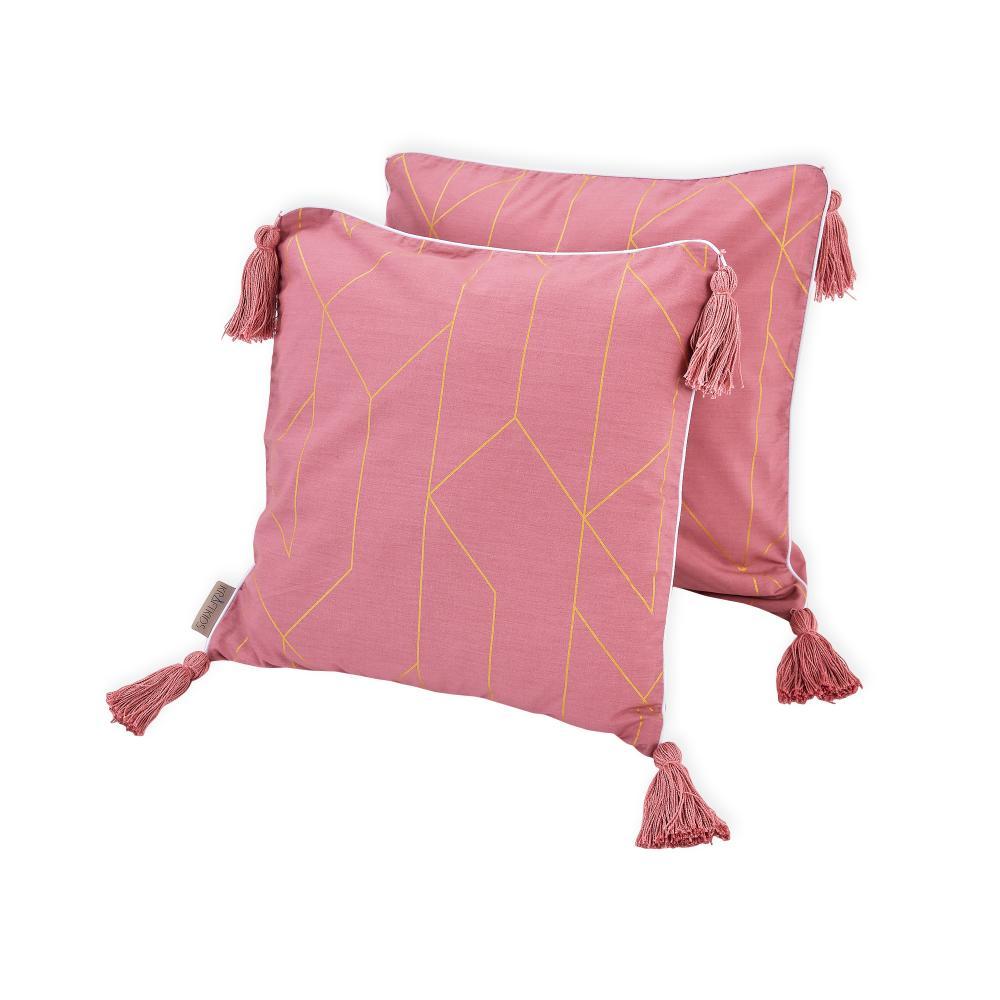 KraftKids Kissenbezug goldene Linien auf Rosa