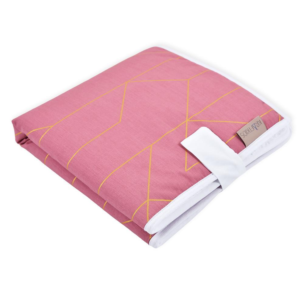 KraftKids Reisewickelunterlage goldene Linien auf Rosa 3 Lagen wasserundurchlässig weich Frotte 100% Baumwolle