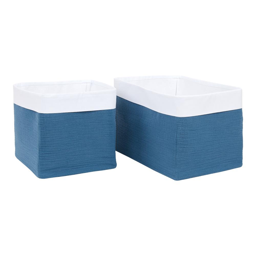KraftKids Körbchen Musselin blau 20 x 20 x 20 cm