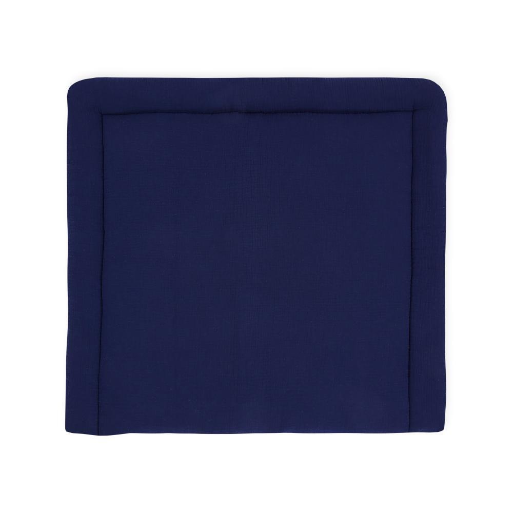 KraftKids Wickelauflage Musselin dunkelblau breit 78 x tief 78 cm z. B. für MALM oder HEMNES Kommodenaufsatz von KraftKids