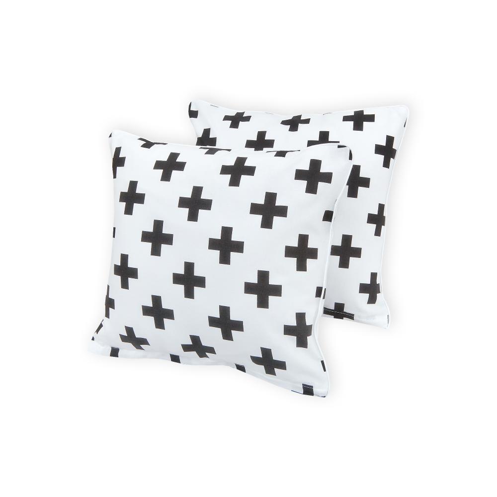 KraftKids Kissenbezug schwarze Pluszeichen