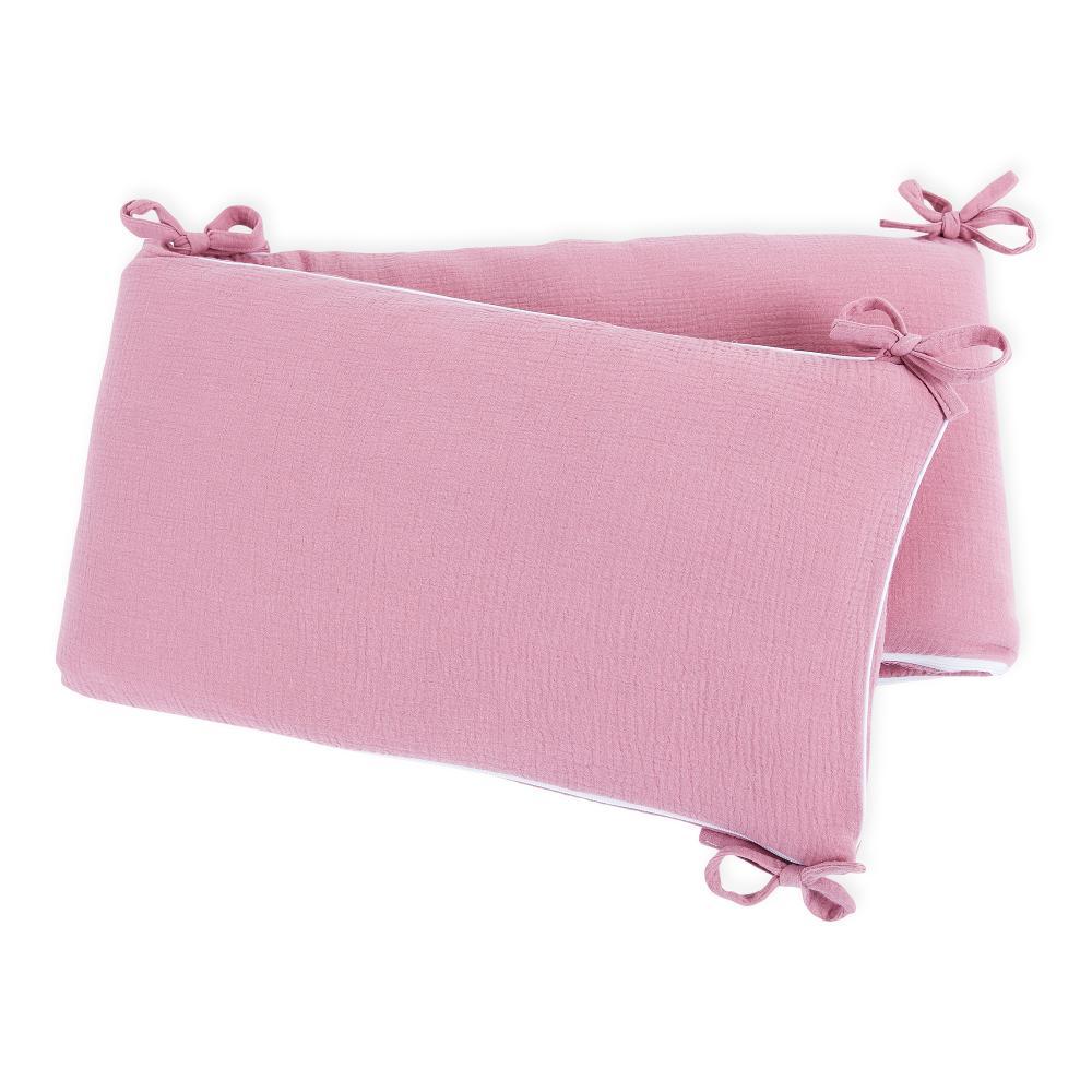 KraftKids Nestchen Musselin rosa Nestchenlänge 60-60-60 cm für Bettgröße 120 x 60 cm
