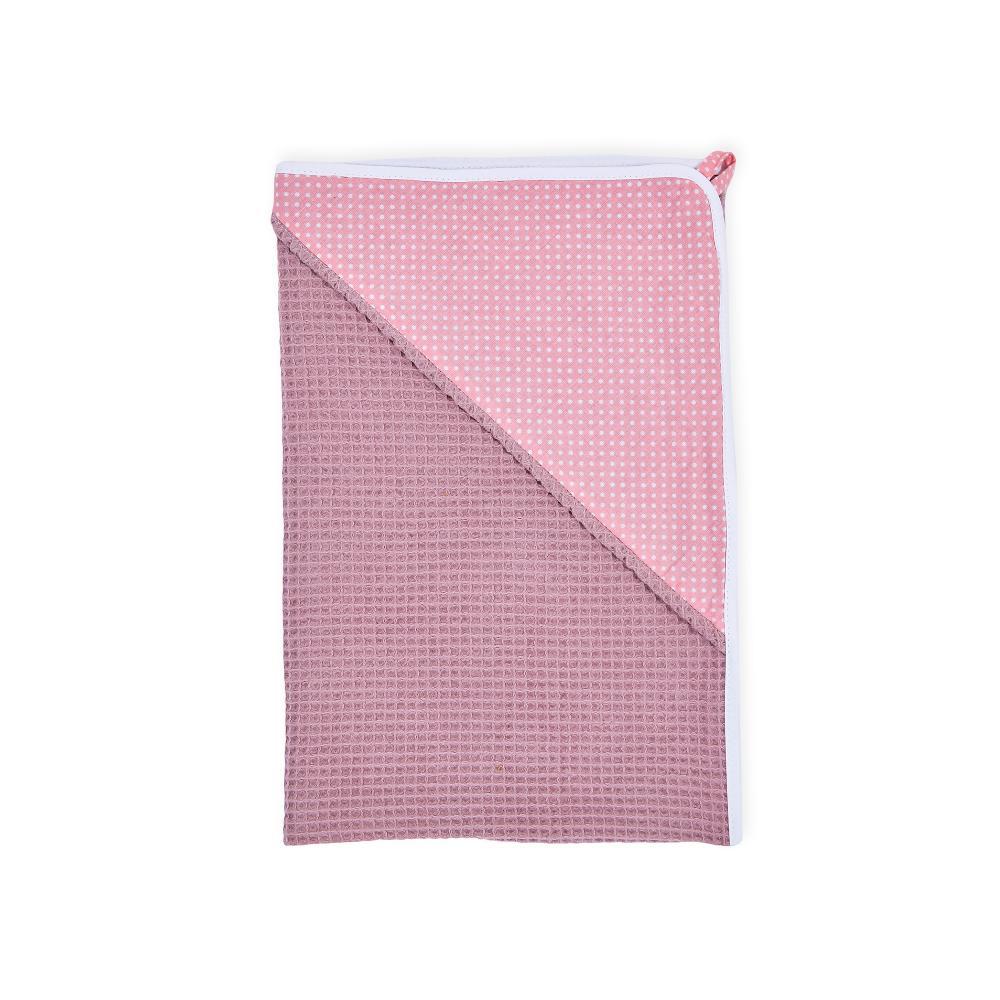 KraftKids Kapuzenhandtuch weiße Punkte auf Koralrosa und Waffel Piqué rosa