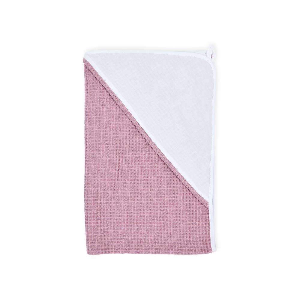 KraftKids Kapuzenhandtuch Uniweiss und Waffel Piqué rosa