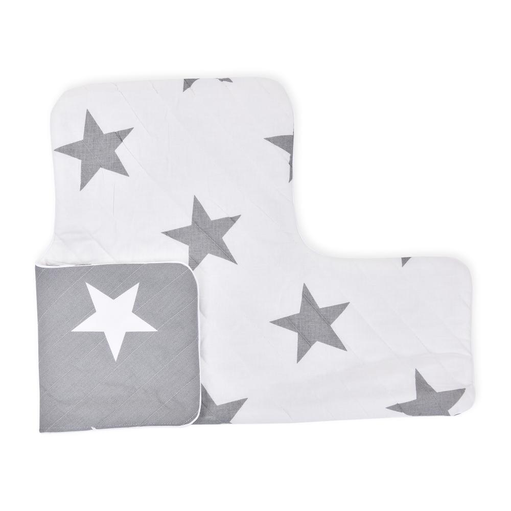 KraftKids Sitzverkleinerer große weiße Sterne auf Grau und große graue Sterne auf Weiss Hochstuhl Hochstuhleinlage