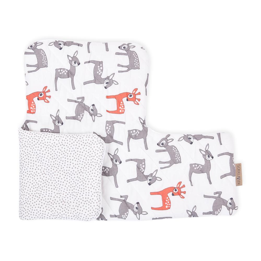 KraftKids Sitzverkleinerer kleine Rehkitze grau orange auf Weiß und graue unregelmäßige Punkte auf Weiß Hochstuhl Hochstuhleinlage