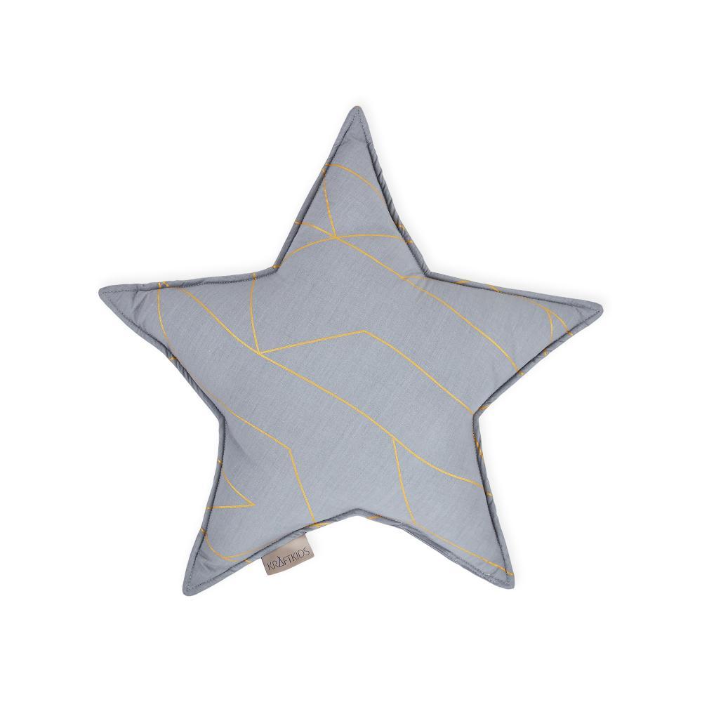 KraftKids Dekoration Sternkissen goldene Linien auf Grau
