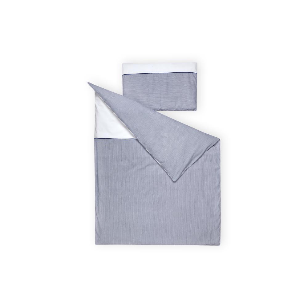 KraftKids Bettwäscheset Uniweiss und dünne Streifen dunkelblau 100 x 135 cm, Kissen 40 x 60 cm