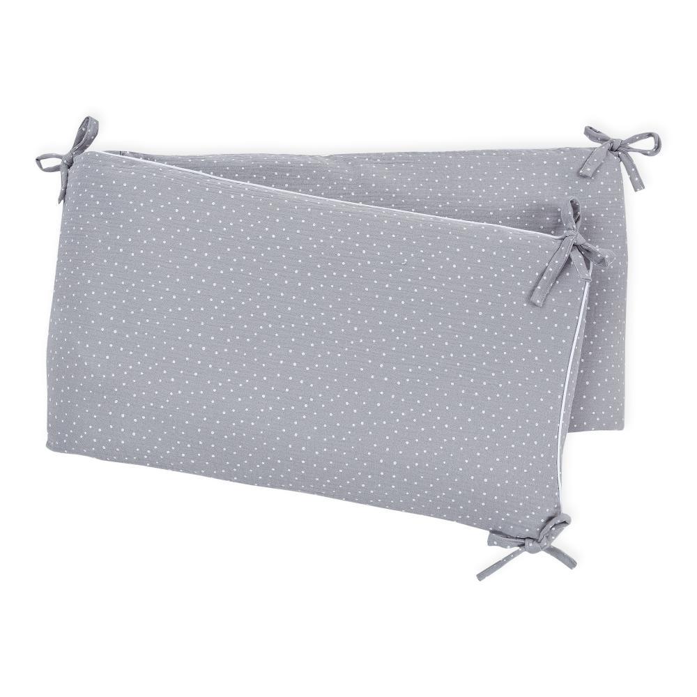 KraftKids Nestchen Musselin grau Punkte Nestchenlänge 60-60-60 cm für Bettgröße 120 x 60 cm