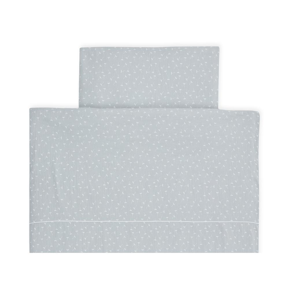KraftKids Bettwäscheset Musselin grau Pusteblumen 100 x 135 cm, Kissen 40 x 60 cm