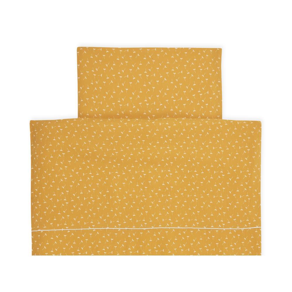 KraftKids Bettwäscheset Musselin gelb Pusteblumen 100 x 135 cm, Kissen 40 x 60 cm