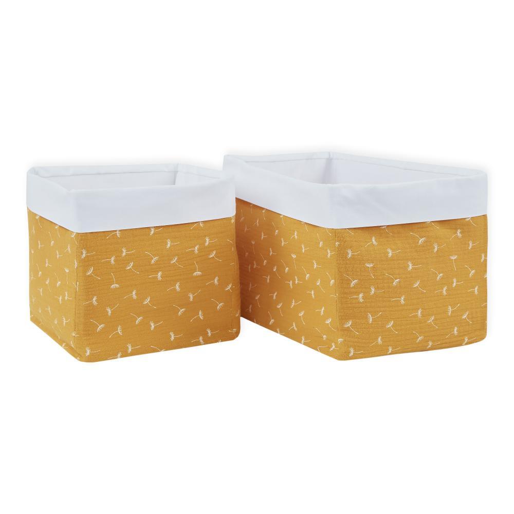 KraftKids Körbchen Musselin gelb Pusteblumen 20 x 20 x 20 cm