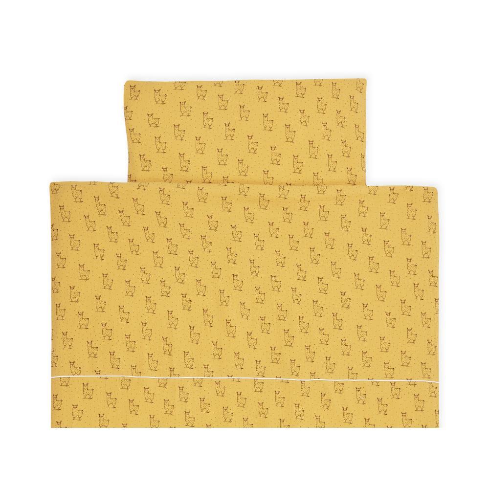 KraftKids Bettwäscheset Musselin gelb Lamma 100 x 135 cm, Kissen 40 x 60 cm