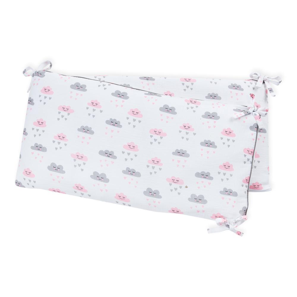 KraftKids Nestchen Musselin weiß Wolken Nestchenlänge 60-60-60 cm für Bettgröße 120 x 60 cm