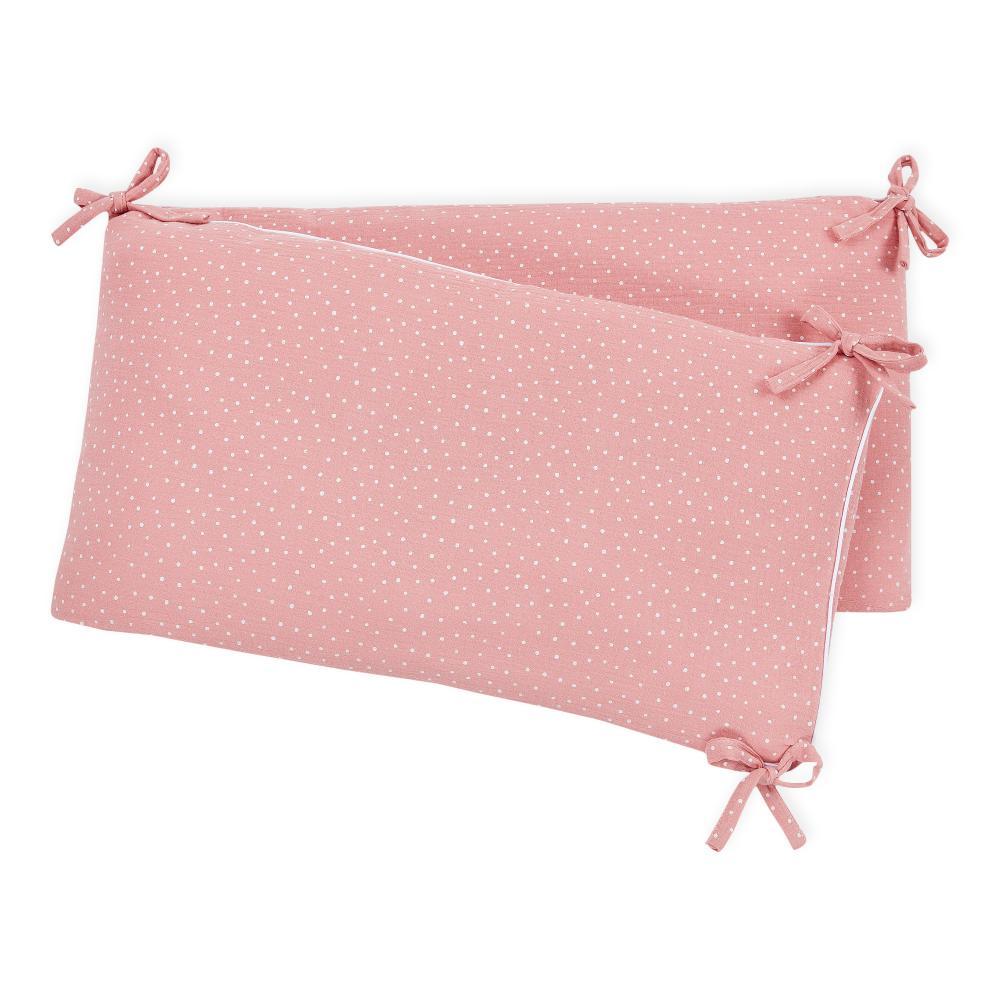 KraftKids Nestchen Musselin rosa Punkte Nestchenlänge 60-60-60 cm für Bettgröße 120 x 60 cm