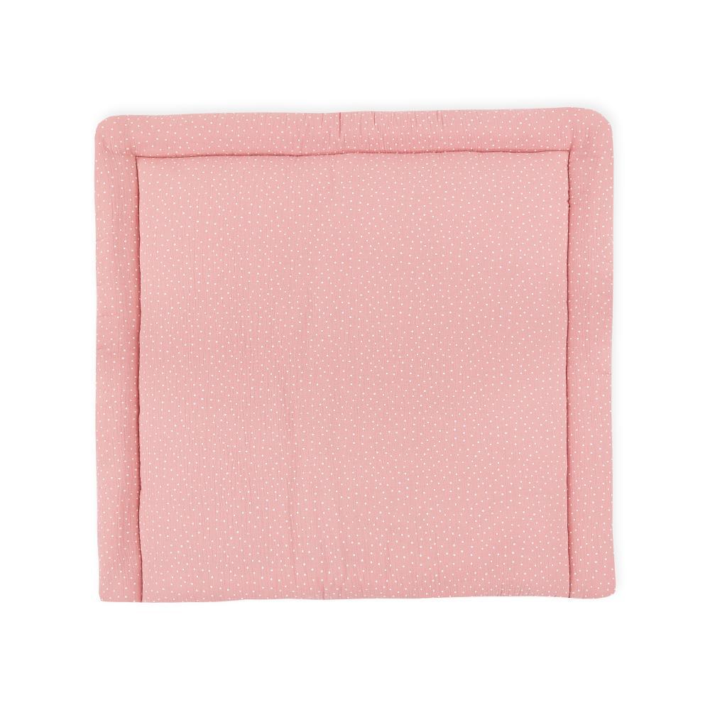 KraftKids Wickelauflage Musselin rosa Punkte breit 78 x tief 78 cm z. B. für MALM oder HEMNES Kommodenaufsatz von KraftKids