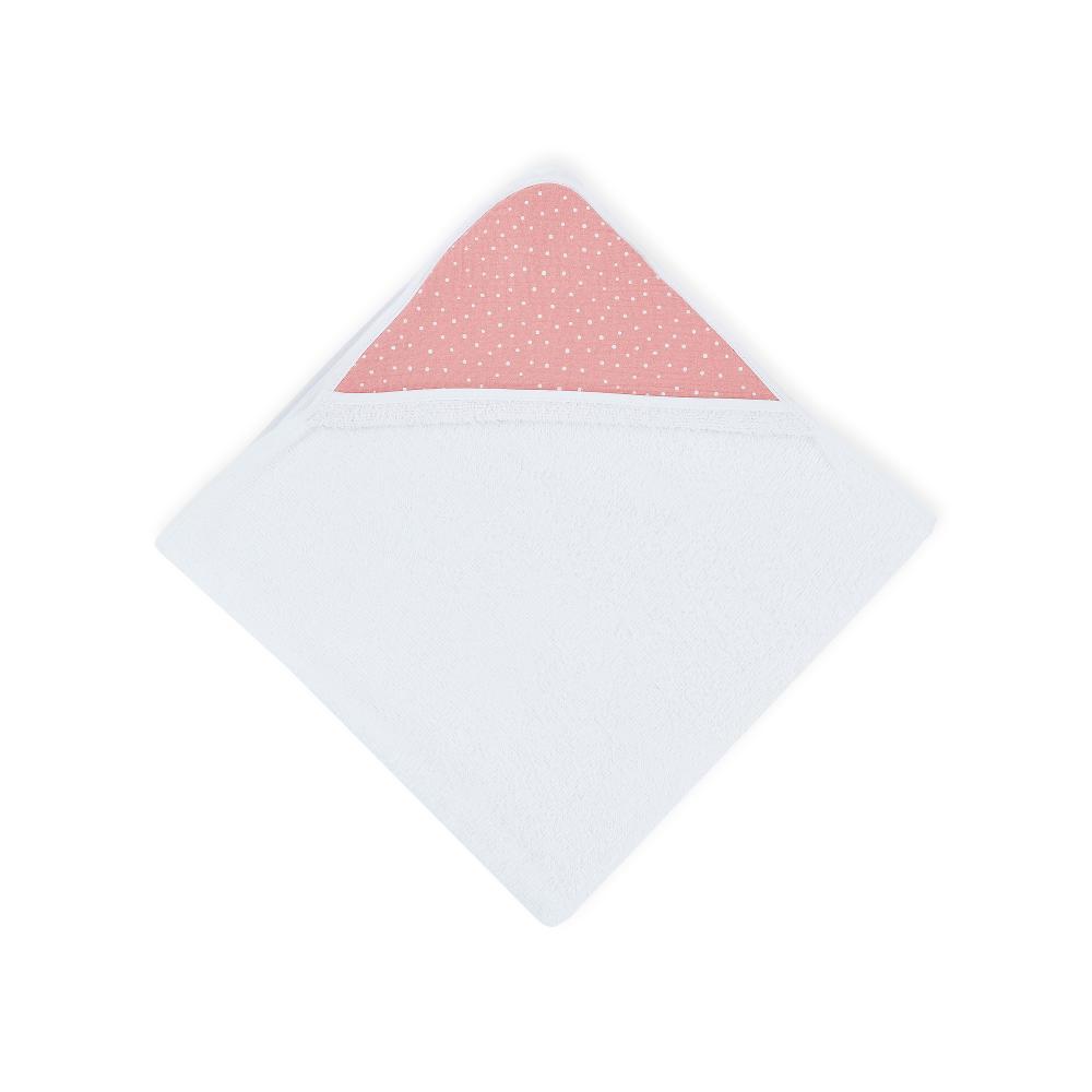 KraftKids Kapuzenhandtuch Musselin rosa Punkte