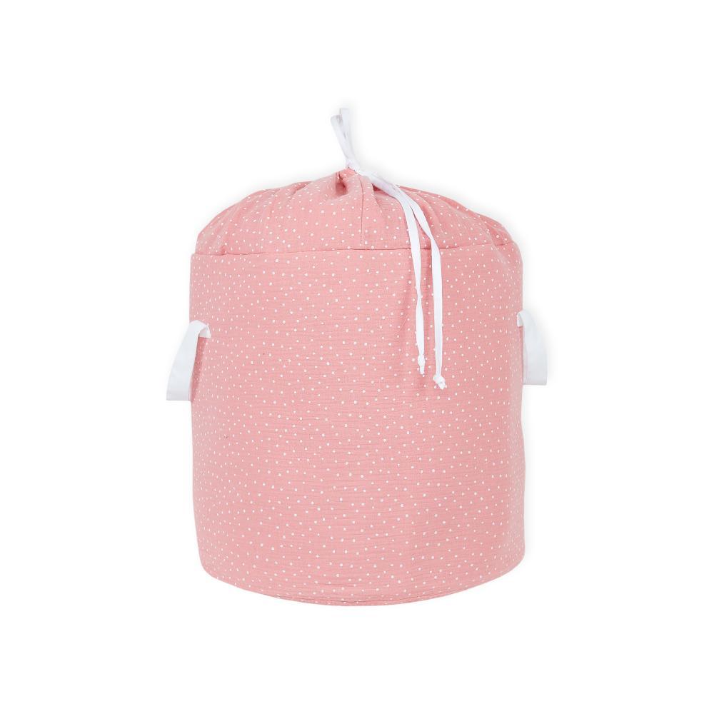 KraftKids Spielzeugkorb Musselin rosa Punkte