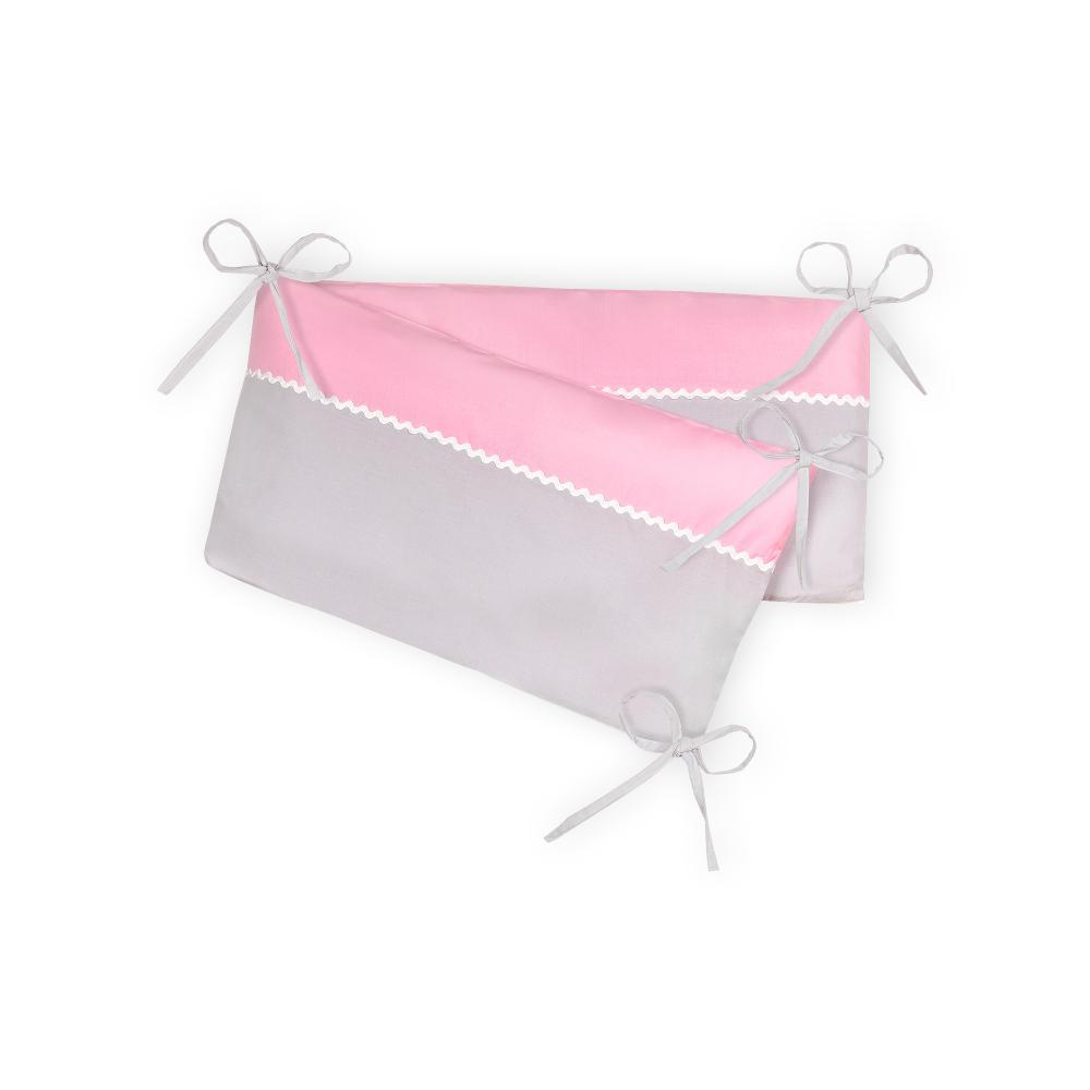 KraftKids Nestchen Unigrau und Unirosa Nestchenlänge 60-70-60 cm für Bettgröße 140 x 70 cm
